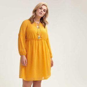 Love & Legend Yellow Clip Dot Empire Dress Sz 18